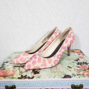 Rockport Pink Leopard Canvas Heels